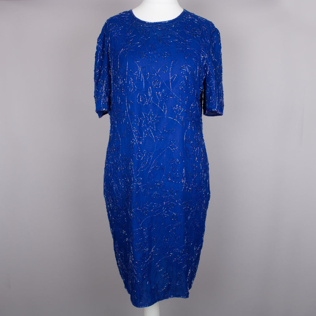 1980s midnight blue sparkly vintage dress