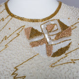 1980s ivory and gold beaded and sequinned vintage dress