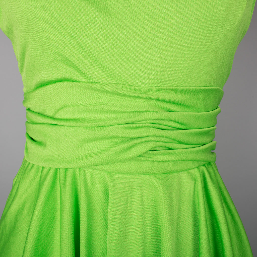 1970s lime green vintage evening gown by John Charles