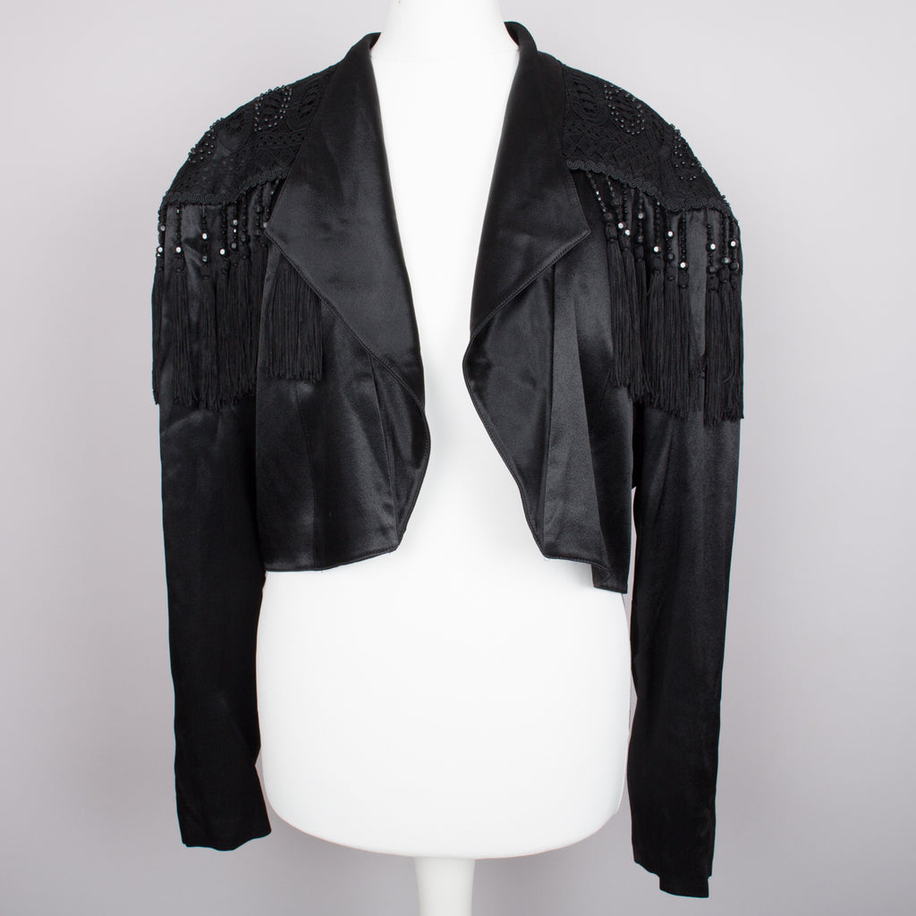 1980s black satin Western fringed and embellished jacket