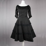 1950s black twill vintage evening dress