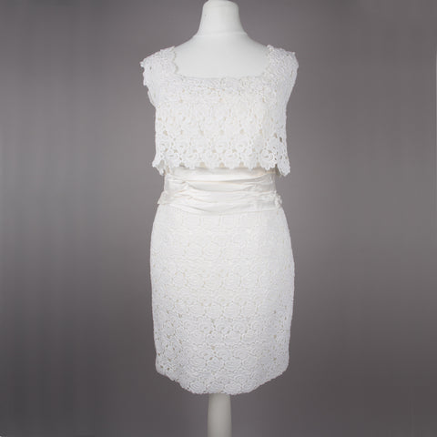 1960s white lace vintage cocktail or wedding dress