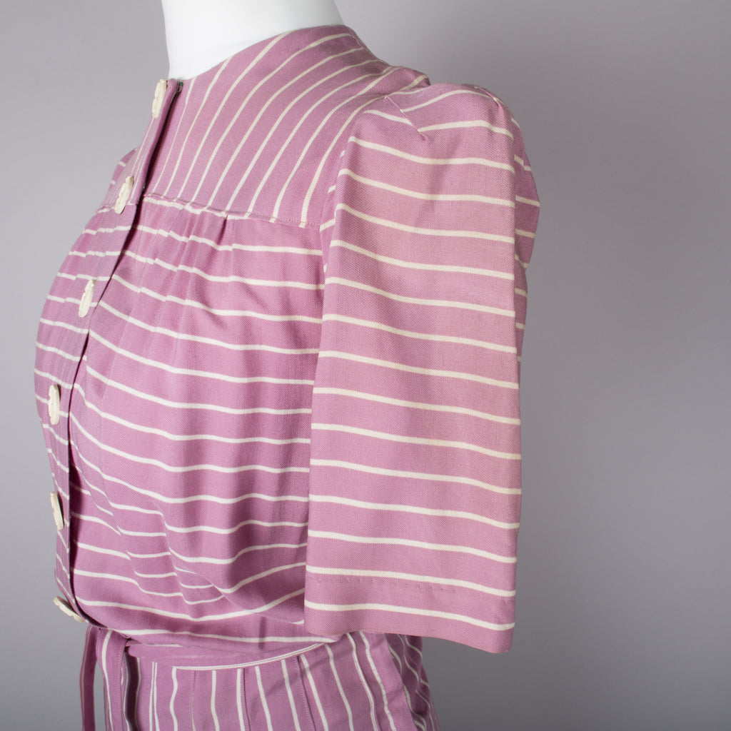 1940s mauve and white stripe vintage day dress