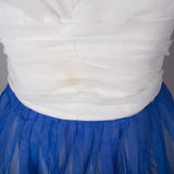 1950s blue and white vintage prom dress