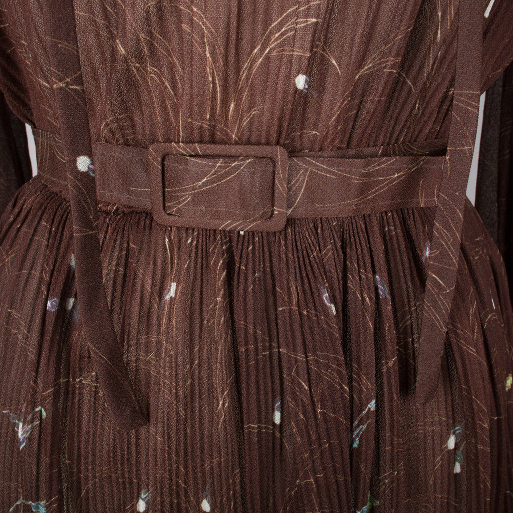 1970s brown pleated vintage midi day dress