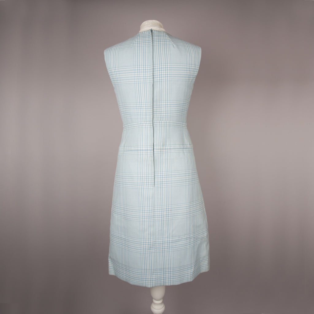 1960s pale blue plaid shift dress by Marcel Fenez