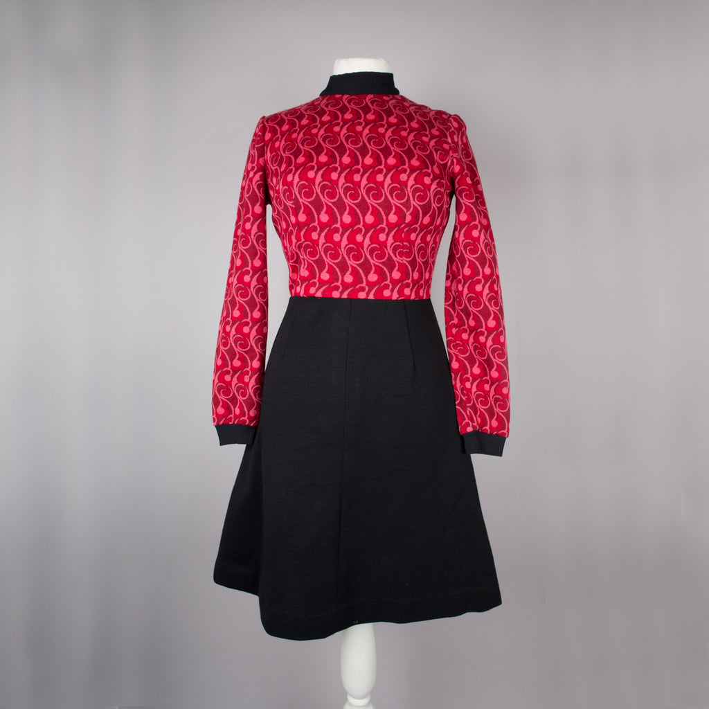 1970s cherry red and black vintage day dress