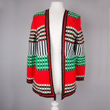 1970s stripe and check long vintage cardigan