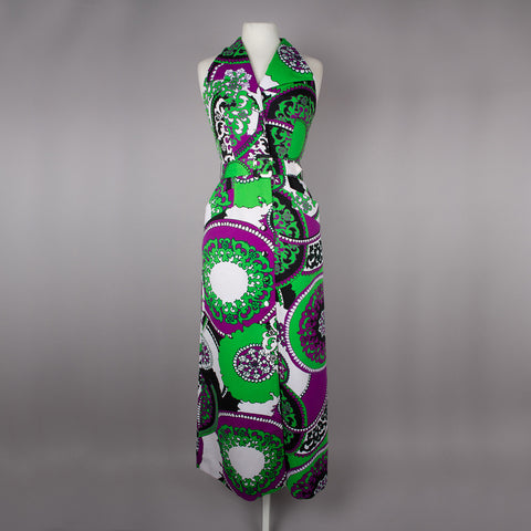 1970s bold design halter neck vintage maxi dress
