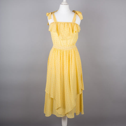 1980s yellow ditsy print summer dress