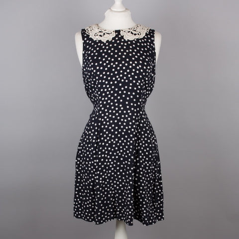 1980s navy polkadot fit and flare dress