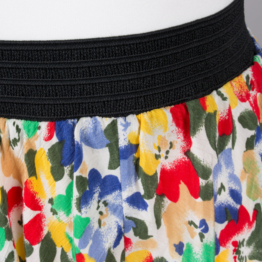 1980s colourful print vintage circle skirt