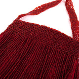 Cranberry red vintage beaded flapper bag
