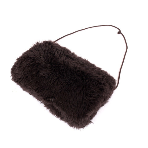 Dark brown fun fur vintage hand muff