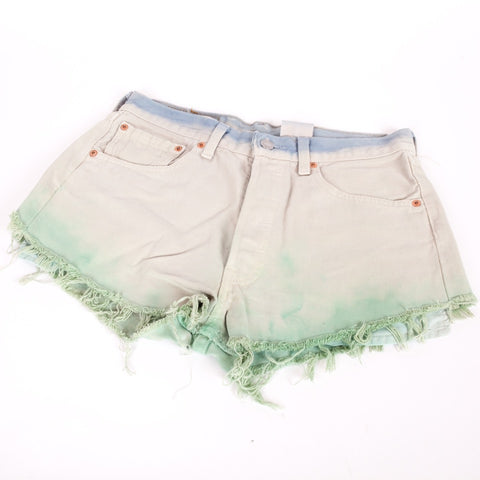 Levi 501 dip dyed cut off denim shorts
