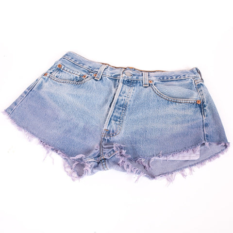 Levi 501 blue denim cut off shorts