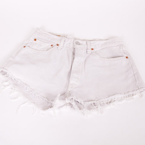 White denim Levi 501 cut off shorts