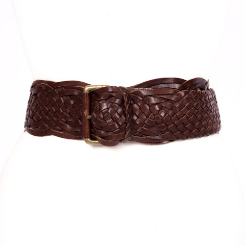 1980s woven leather vintage belt