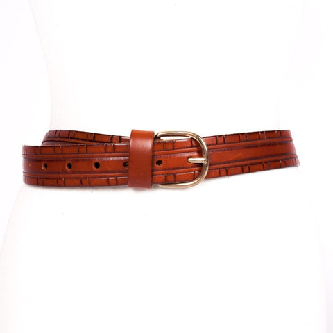 Embossed brown vintage leather belt
