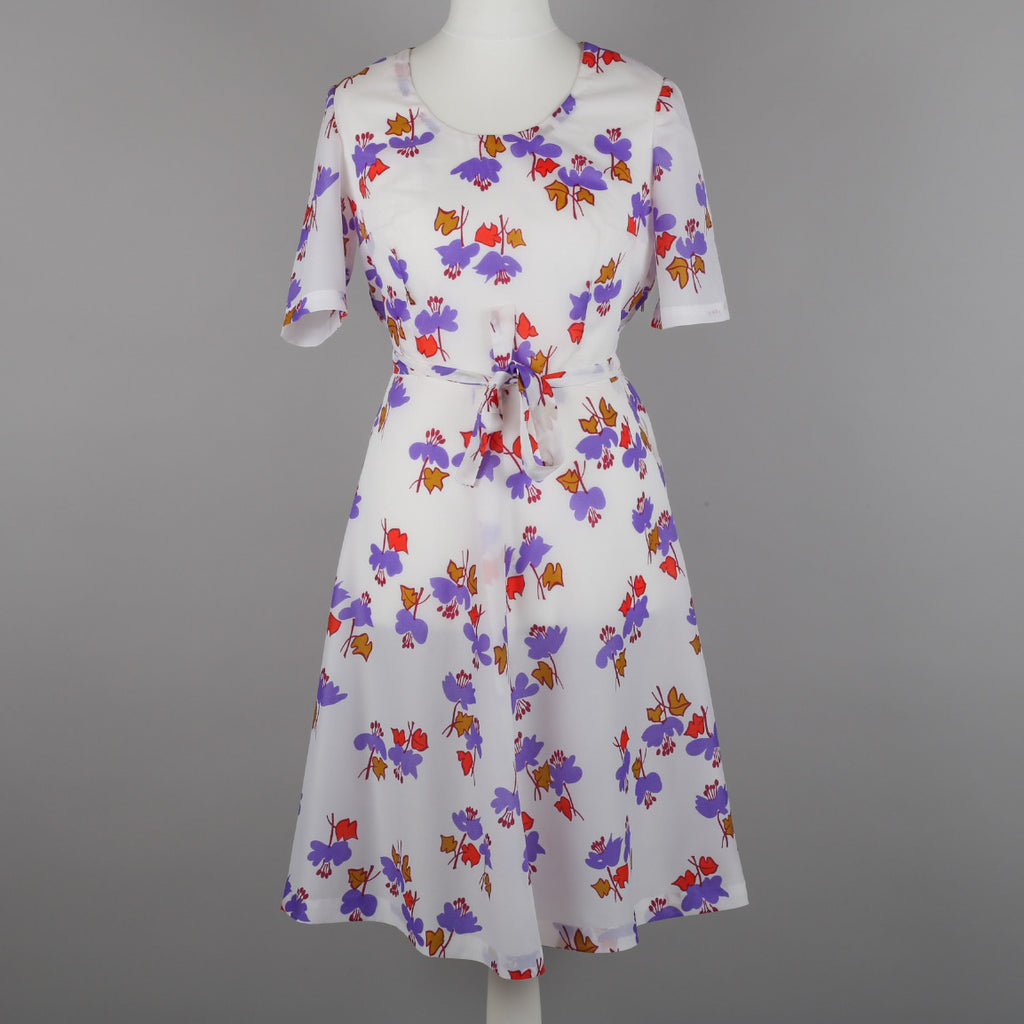 1970s abstract leaf print party dress
