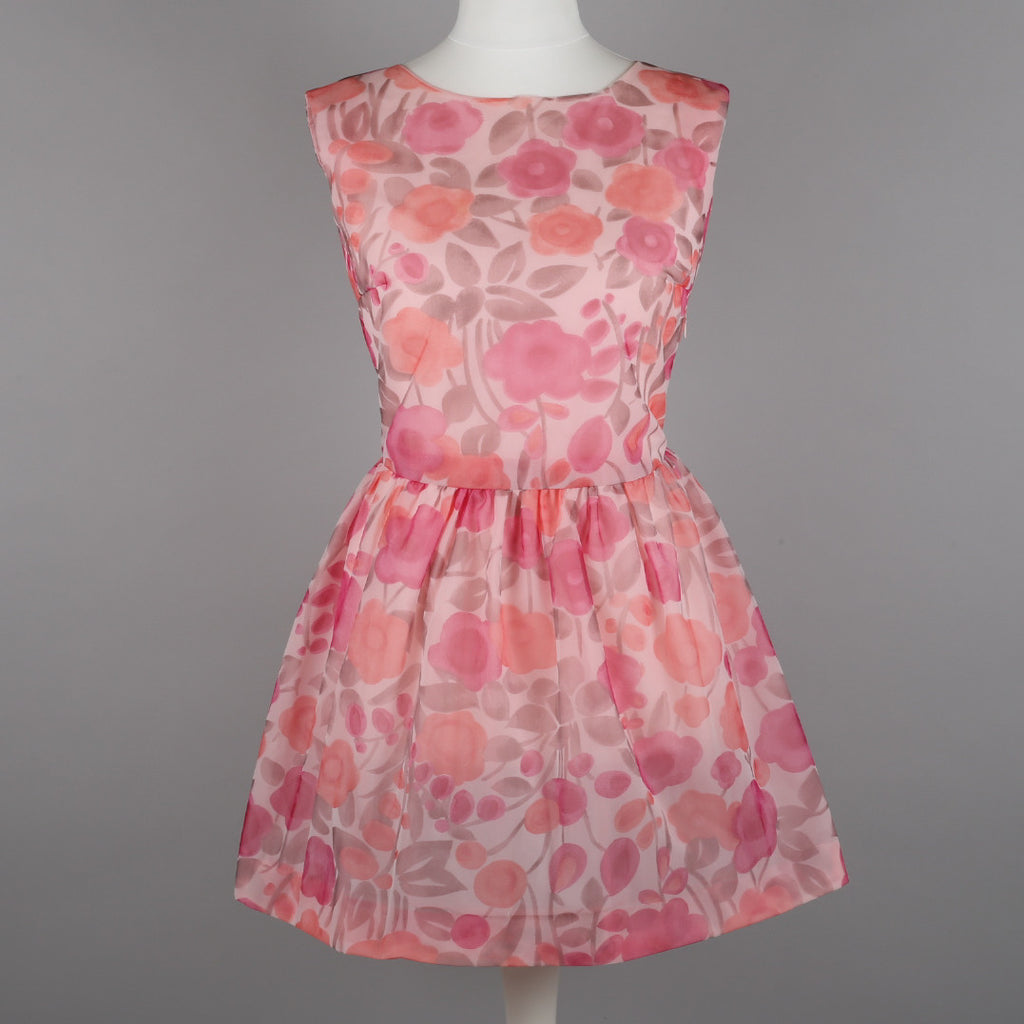 1960s pink roses vintage party dress