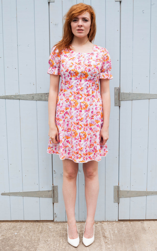 1970s peach and pink floral dress