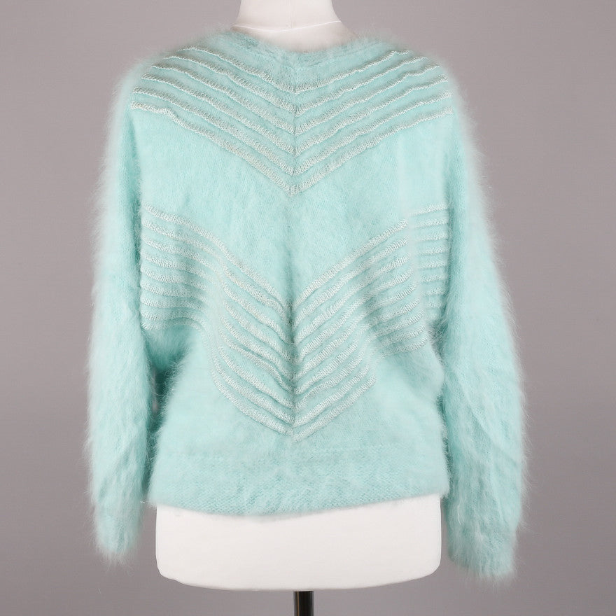 1980s soft and fluffy embellished sweater
