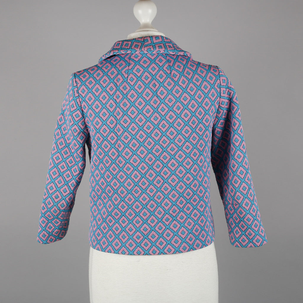 1960s blue and pink vintage box jacket