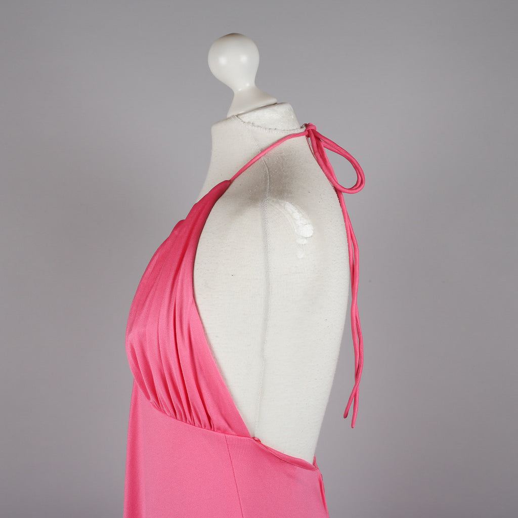 1970s candy pink evening dress by Frank Usher