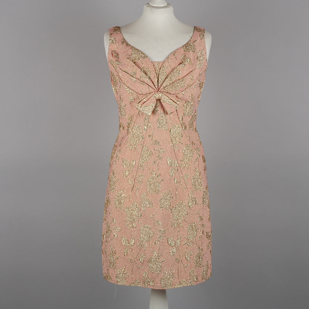 1960s gold and pink brocade cocktail dress