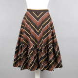 1980s brown tiered vintage skirt