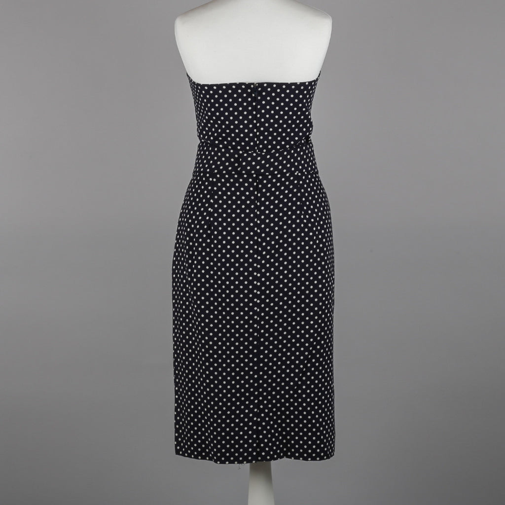 1980s strapless polkadot vintage dress