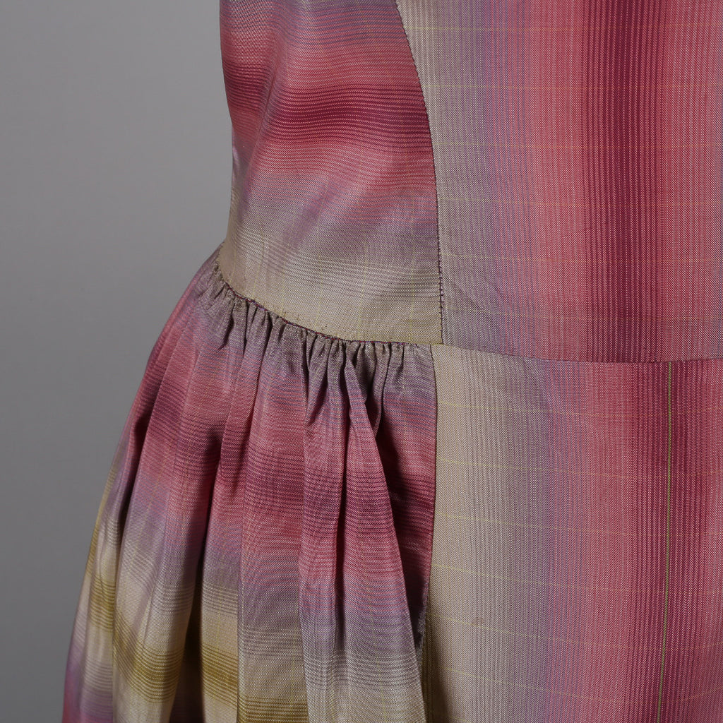 1950s plaid silk acetate vintage evening dress