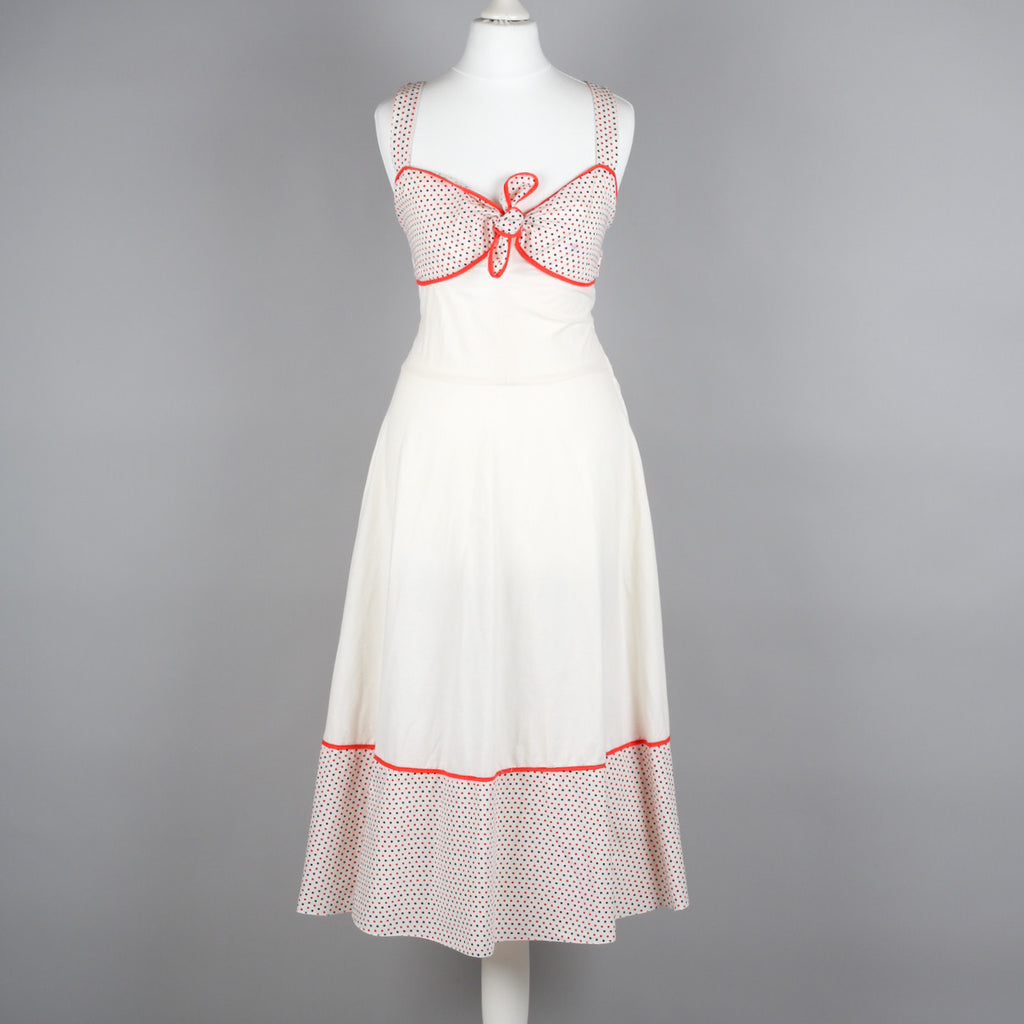 1970s cream calico cotton vintage sundress
