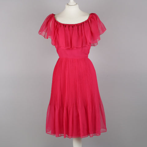 1970s pink hostess dress by Roland Klein