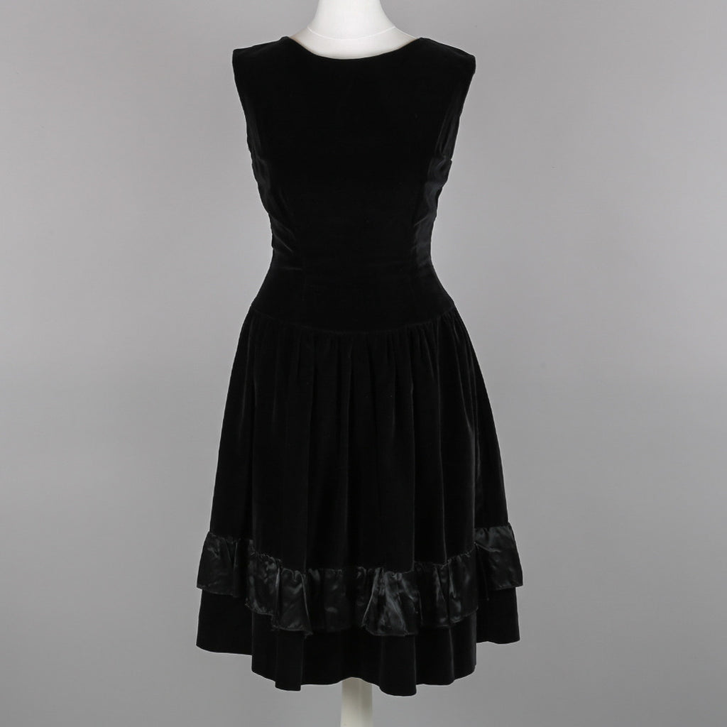 1950s black velvet vintage party dress