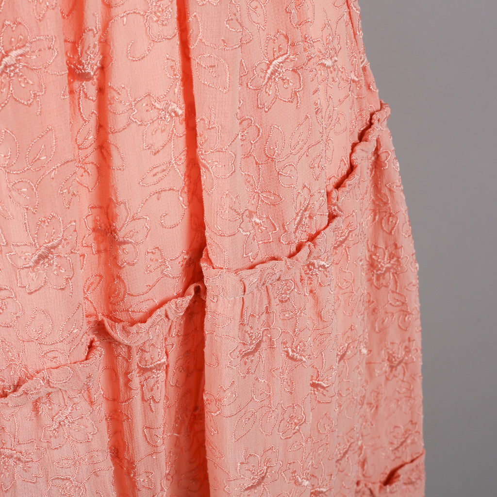 1940s salmon pink embroidered vintage dress