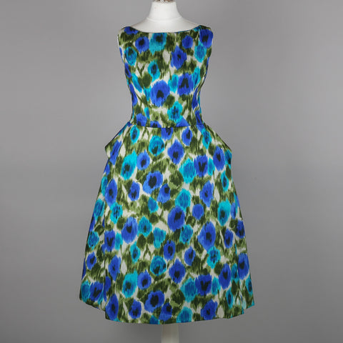 1950s water print cocktail dress by Hildebrand