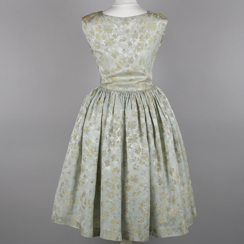1950s silky brocade vintage party dress