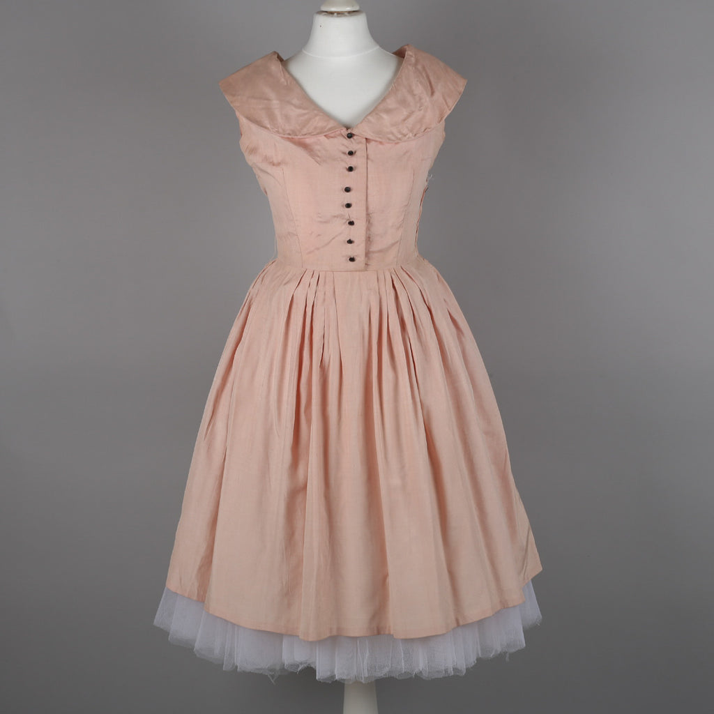 1950s pale pink silk dress by Betty Barclay