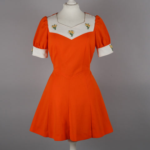 1970s orange vintage dress by Diolen Loft