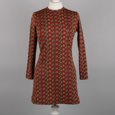 1960s autumnal print vintage tunic dress