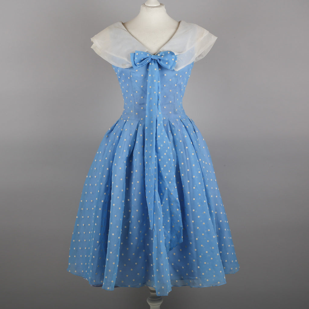 1950s baby blue polkadot vintage prom dress
