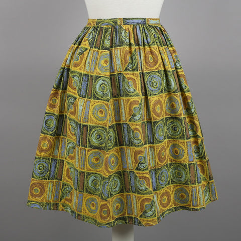 1960s circles print vintage cotton skirt