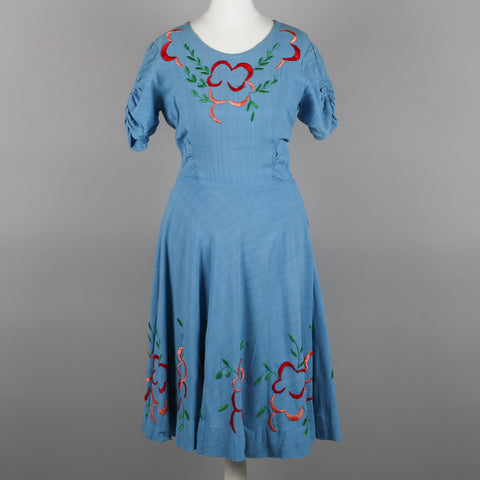 1950s blue embroidered vintage dress