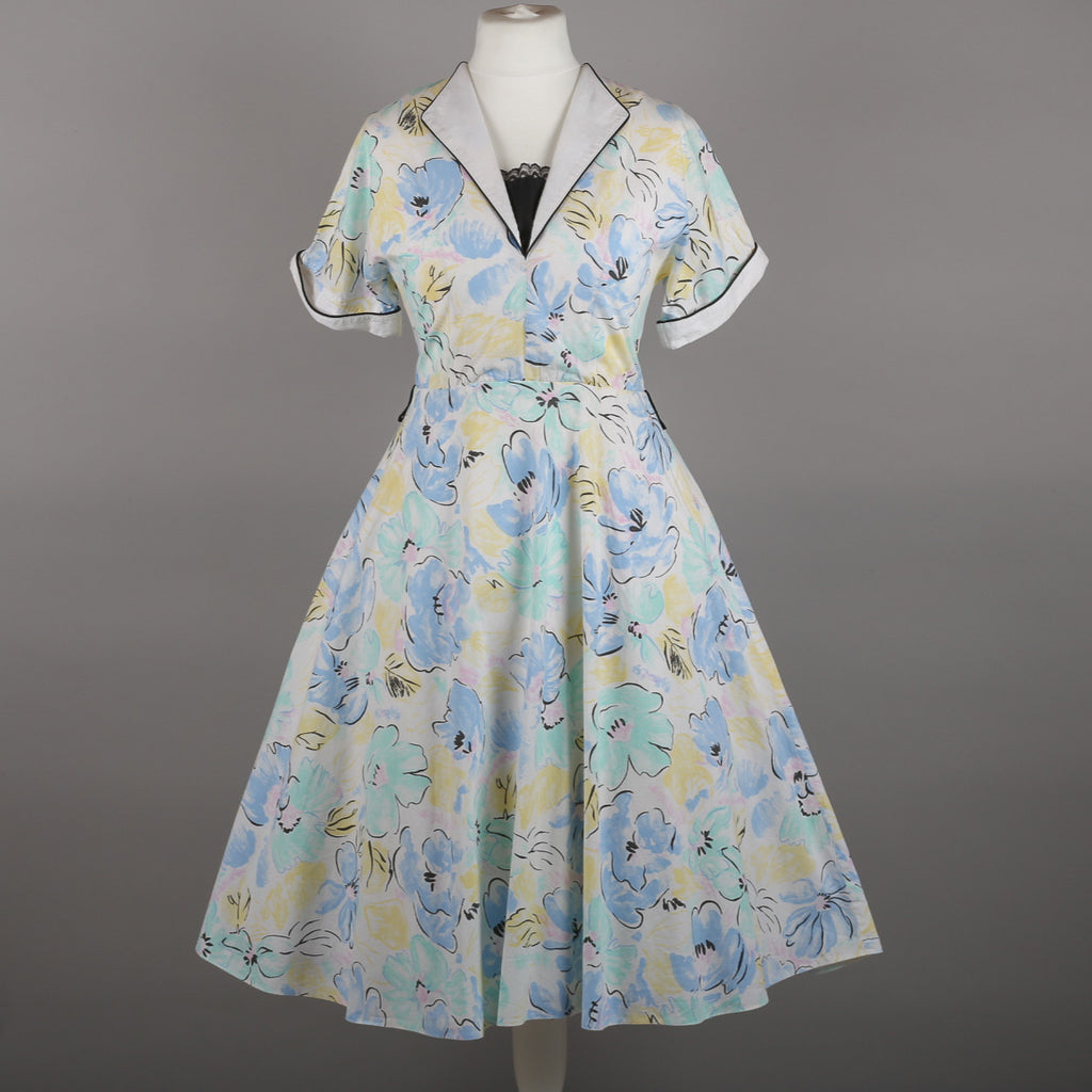 1980s pastel cotton vintage rockabilly dress