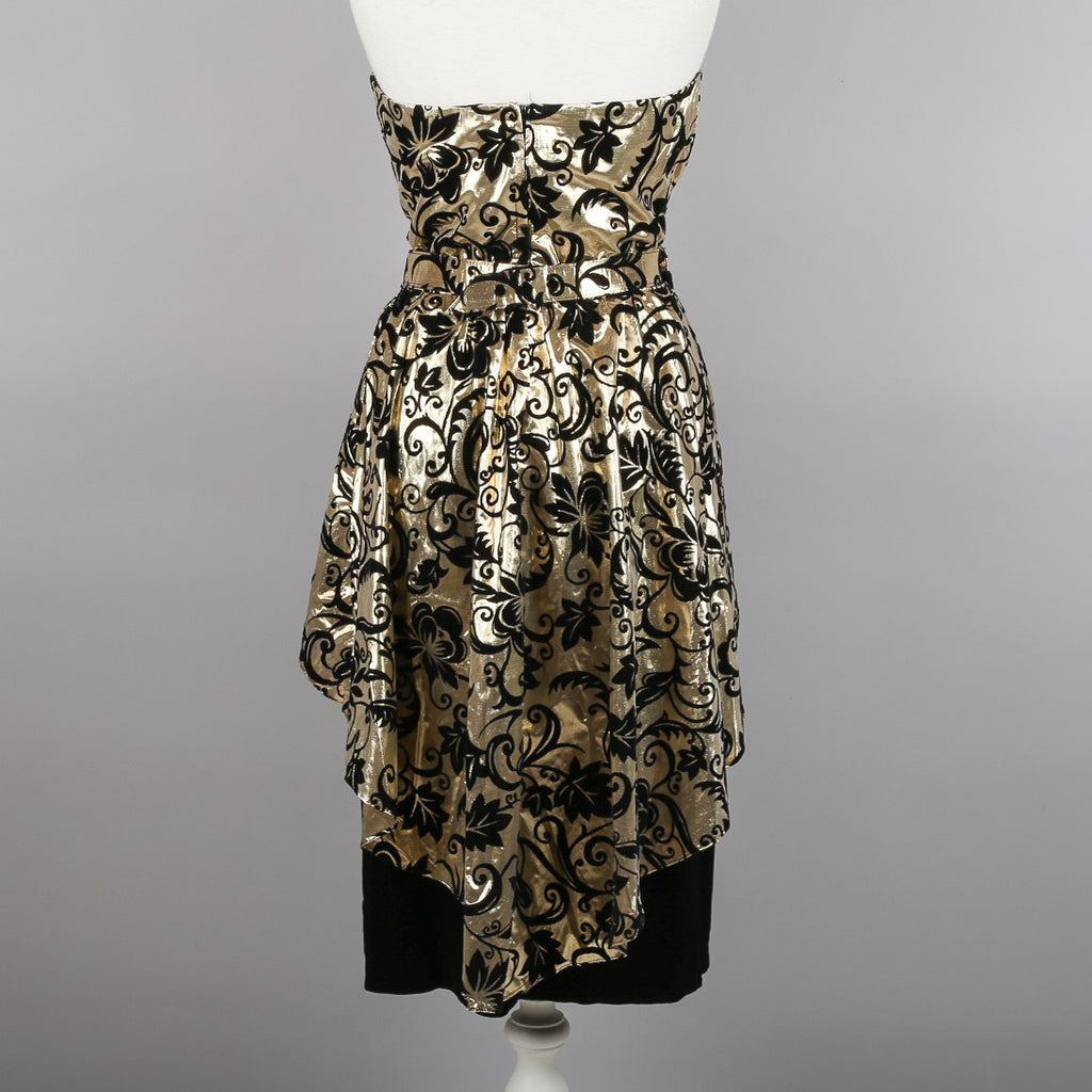 1980s strapless gold and black evening dress