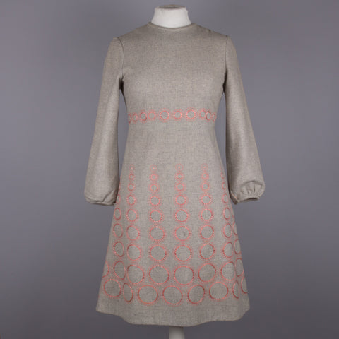 1960s grey and pink vintage dress