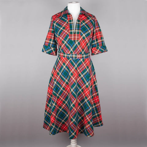 1970s tartan vintage day dress