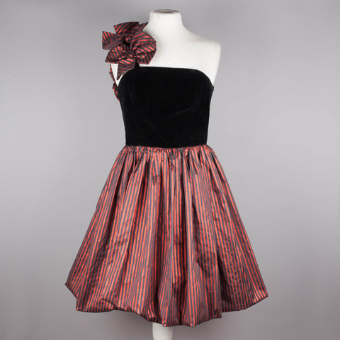 1980s one shoulder vintage puffball dress
